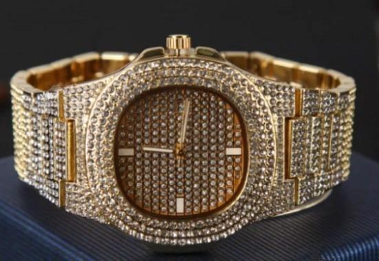 Relógio Prata E Dourado Cravejado Novo Zirconia Hip Hop