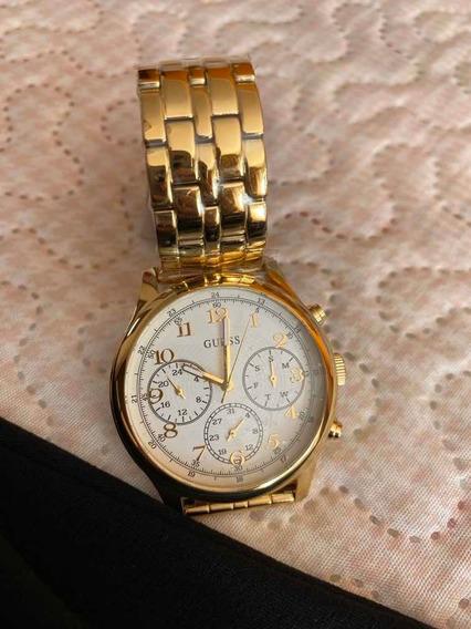 Relógio Guess Dourado Com Certificado E Embalagem Oeigina