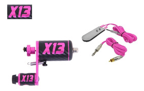 Maquina Tatuagem X13 Rotativa Pink Hibrida + Pedal E Cabo