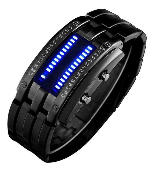 Binary Matrix Blue Led Digital Waterproof Watch Mens Classi
