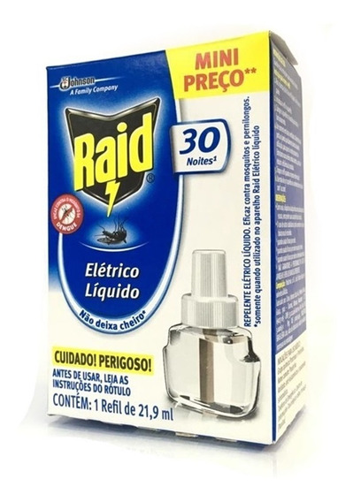 Refil Repelente Raid Eletrico Liquido Mata Mosquito 30 Noite