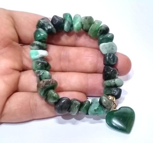 Pulseira De Esmeralda Pedra Natural Do Brasil Boas Energias