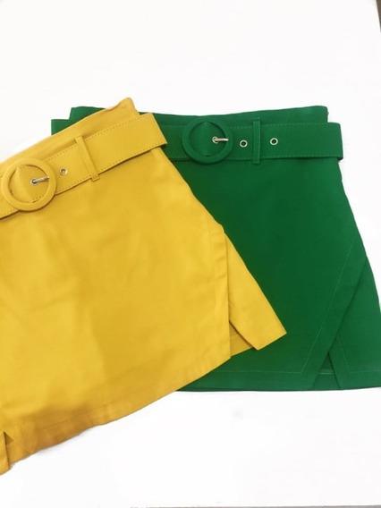 Short-saia Fenda Lateral + Cinto Moda Blogueira Luxo