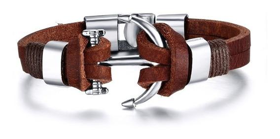 Pulseira Bracelete Masculina Couro Legitimo Âncora De Aço