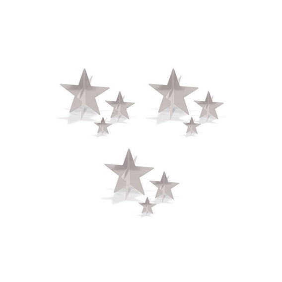 Beistle 52148-s, 9 Piezas 3-d Foil Star Centerpieces, 3 - 8