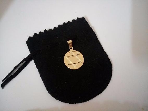 Medalha De Estrela De Davi Com Colar Banhado A Ouro 18 K