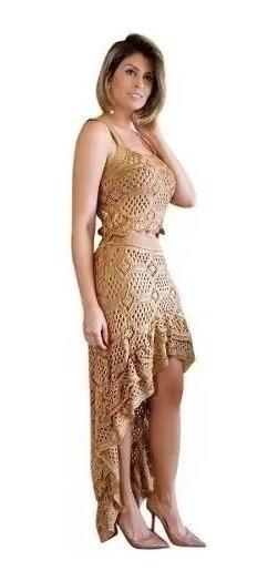 Conjunto Saia Longa Fenda Perna Cropped Tricô Tricot Crochet