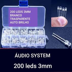 Kit 200 Leds 3mm Branco Transparente Auto Brilho