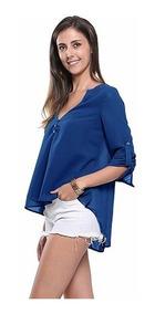 Camisa Social Feminina Lisa Manga Longa Regular # 16001