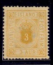Islandia 1876 Antiguo Sello Yvert T.s. N° 3 Nuevo