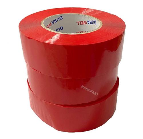 Fita Adesiva 3x Rolos De 200 Metros Vermelha Caixas Pacotes