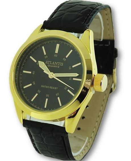 Relógio Masculino Atlantis A3100 Dourado Original Social Pulseira De Couro Frete Grátis