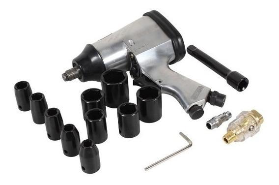 Pistola De Impacto Neumatica 1/2 Con Kit De 10 Dados Mikels
