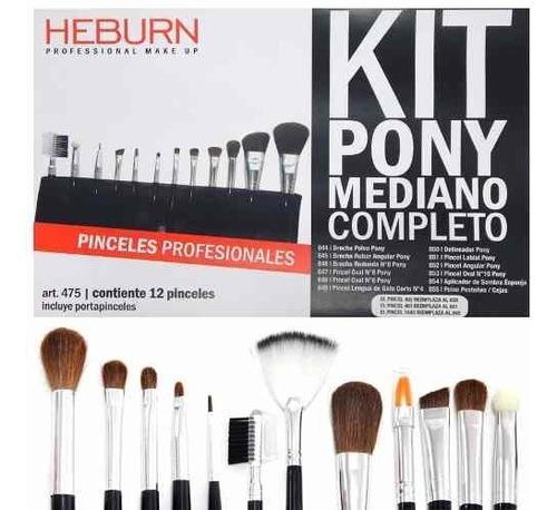Imagen 1 de 6 de Heburn 12 Pinceles Brochas Set 475 Maquillaje Pony Mediano