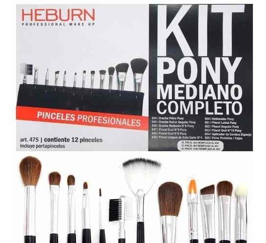 Heburn 12 Pinceles Brochas Set 475 Maquillaje Pony Mediano