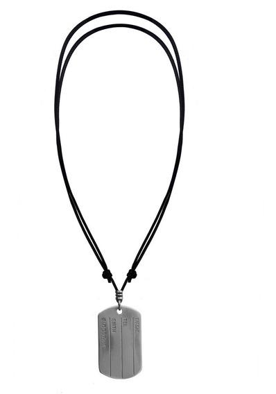 Colar Cordão Masculino Feminino Placa Identificação Aço