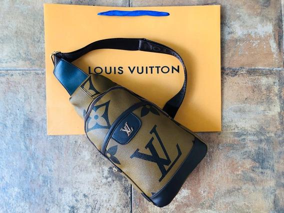 Pechera Lv Louis Vuitton Cafe , Camel Original Con Bolsa