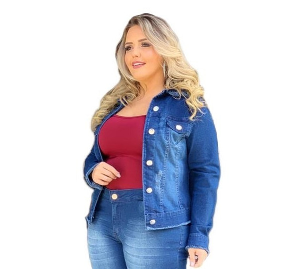 Jaqueta Cropped Jeans Plus Size Do 46 Ao 52 Gg Ao G3