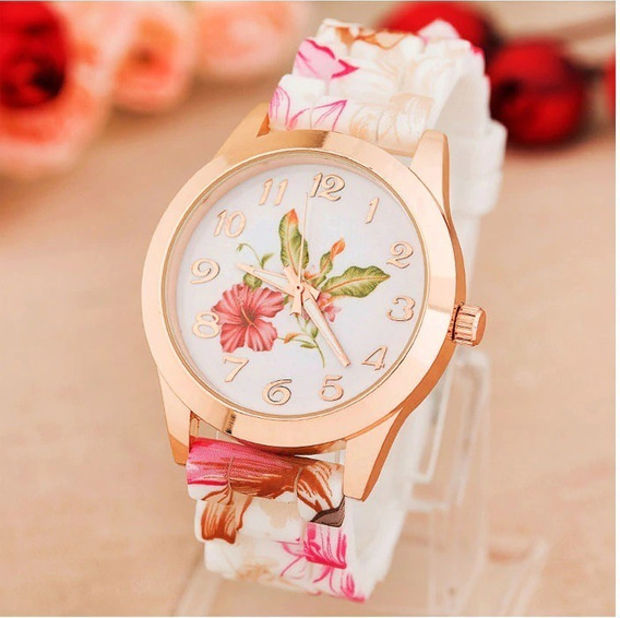 Relógio Feminino Em Aço Inox E Silicone Estilo Floral
