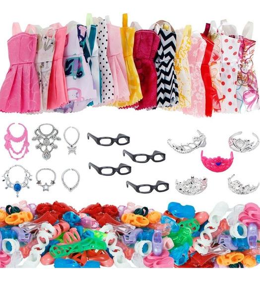 Roupa Boneca Barbie Sapato Acessórios Roupinha Kit 37 Peças