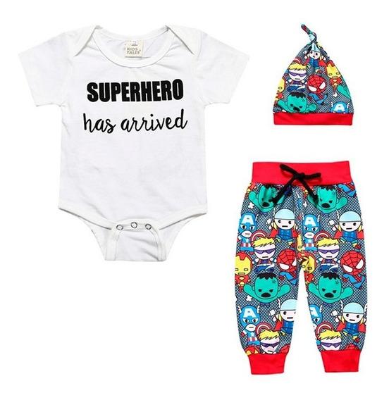 Conjunto 3 Piezas Para Bebe De Super Heroe