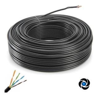Cable Rollo 100mts 100m Utp Exterior Cat 5e Red Vaina Negra Cctv Rj45 Balun
