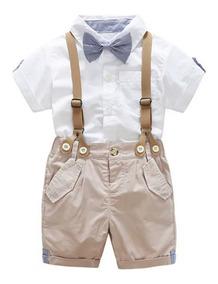 Kit 4 Peças Bebê Camisa, Bermuda Gravata Festa Aniversario