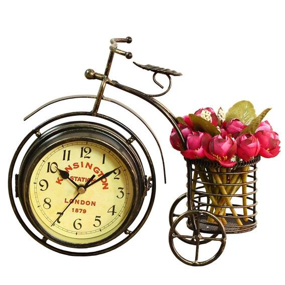 Retro De Doble Cara De Mesa Reloj Vintage Bicicleta C/cesto