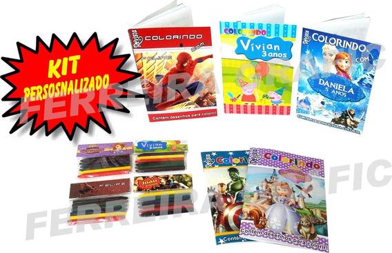 20 Kits Revistinhas De Colorir + Giz De Cera Personalizado