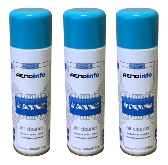 03 Unid Ar Comprimido Congelante P/ Limpeza Uso Geral 300ml