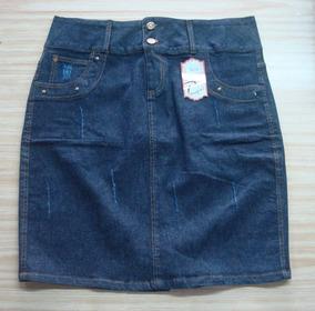 Saia Jeans Cós Transpassado Plus Size Barato 5722 Promoção