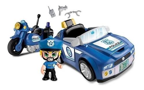 Pinypon Action Figura + Auto + Moto De Policia Caff Educando