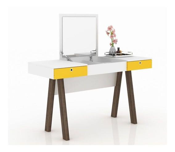 Penteadeira Escrivaninha Tecno Mobili Pe-2002 Br/amarelo