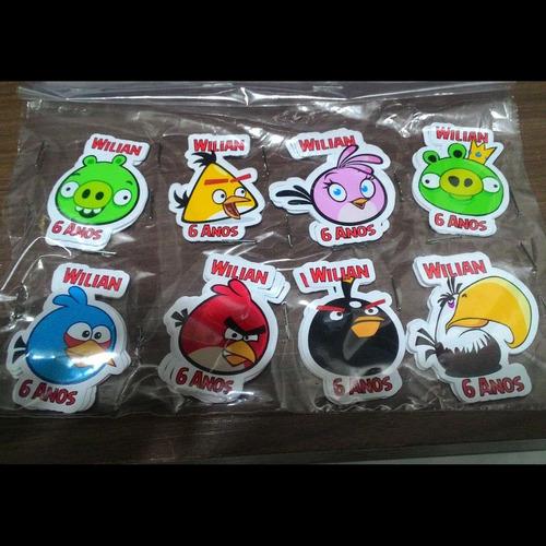 Imagem 1 de 3 de 100 Tags, Topper, Apliques Para Festas - Angry Birds