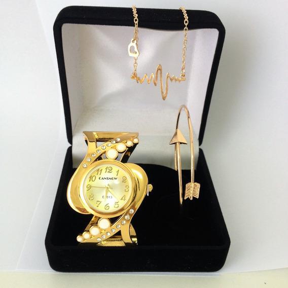 Relógio Feminino Dourado Barato Kit Presente Dia Namorados