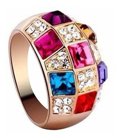 Anel Liga De Ouro Luxo Colorido Rhinestone