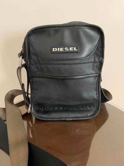 Bolso Morral De Hombre Negro Diesel Original