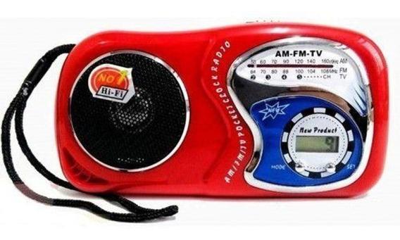 Mini Rádio Vermelho Am/fm/tv Com Relógio Le-603