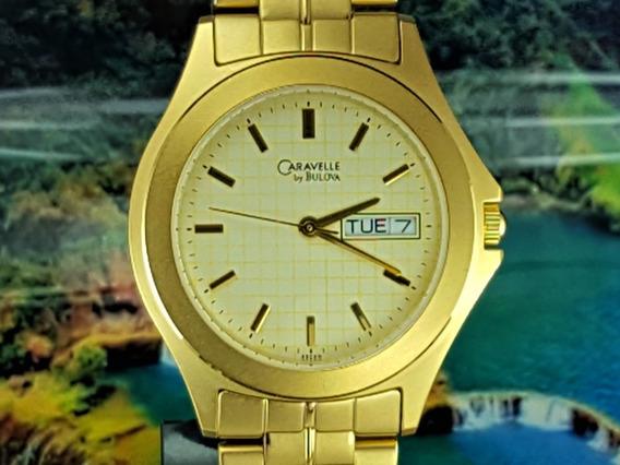 Relógio Caravelle Bulova 43c68 Dourado, Semana E Dia.