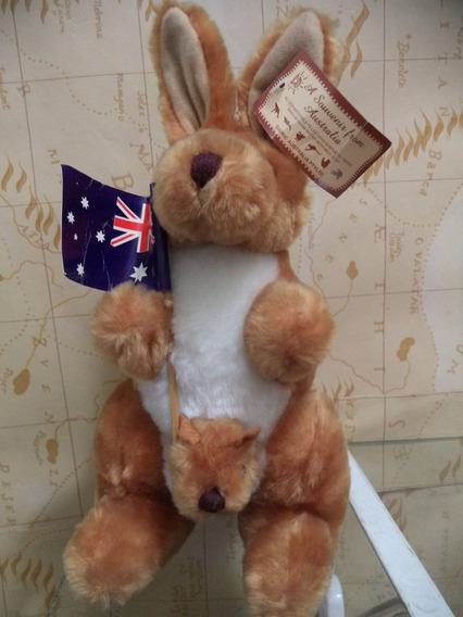 Boneco Mascote De Pelucia Australia-canguru Antigo Lindo