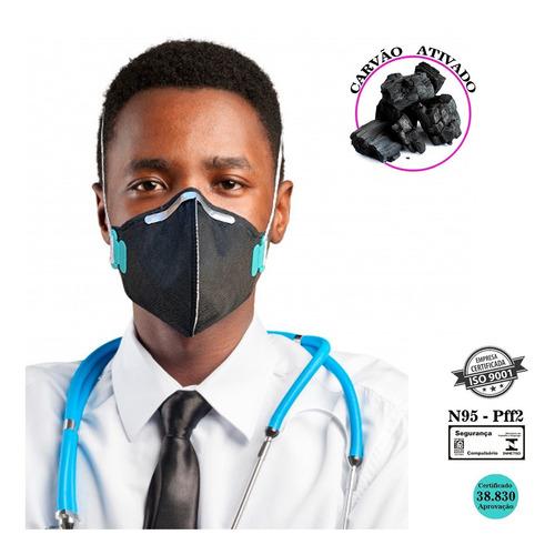 Kit 10 Mascara N95 Proteção Respiratória Pff2 Carvão Ativado