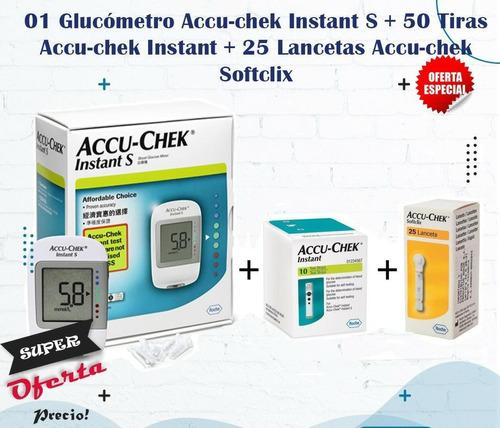 Imagen 1 de 5 de Glucometro Accu Chek Instant S + 50 Tiras Reactivas + Lancet