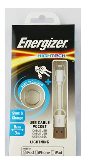 Cabo De Dados iPhone 5-6 iPod iPad Branco 8 Cm Energizer
