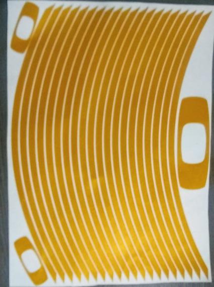 Adesivo Roda Moto Dourado, Fita - Friso Refletivo