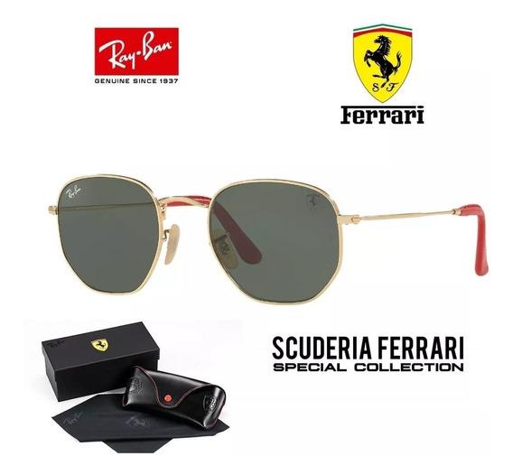 Ray-ban Hexagonal Ferrari Rb3548 Dourado Lente G-15 Original