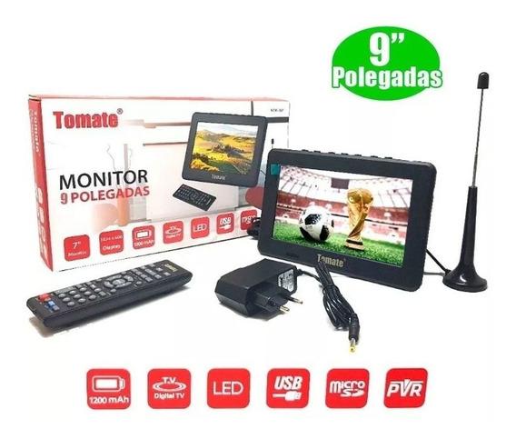 Mini Tv 9 Polegadas Controle Remoto Rádio Fm Lê Cartão E Pen