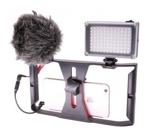 Estabilizar Celular + Luz 96 Leds + Microfone Boya Mm1