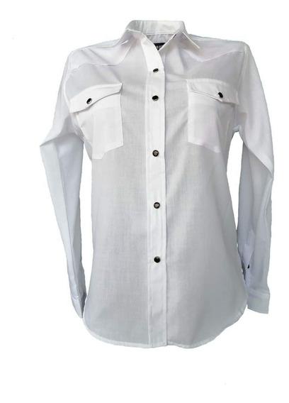 Blusa Vaquera Manga Larga Blanca Para Mujer