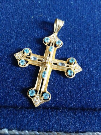 Crucifixo De Ouro 18, Com Diamantes E Águas Marinha.