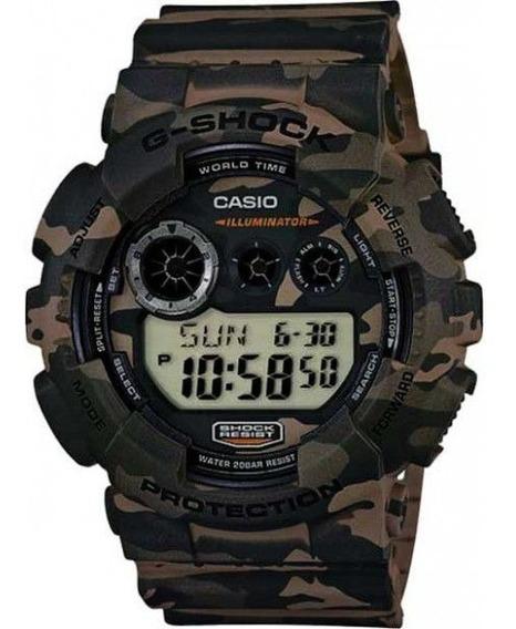 Relógio Casio G-shock Camuflado Gd-120cm-5dr Res. A Choques